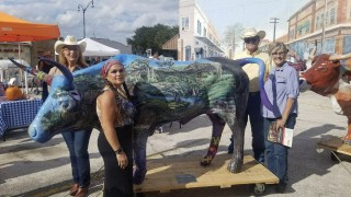 April. Here is myself with my wife Marcia at the rear of our bull. At the head is Michelle Turner who organized the event and in front is Monica Goodwin Turner the artist who painted the bull. Let me know if you need anything else. Thanks photo credit to Cary Lightsey